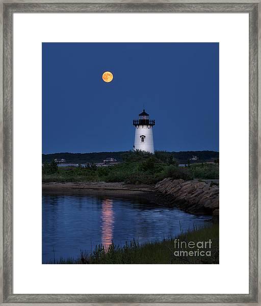 Super Moon Over Edgartown Lighthouse Framed Print