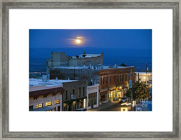 Super Moonrise Over Jerome Arizona Framed Print