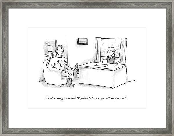 Superman Sits At A Job Interview Framed Print