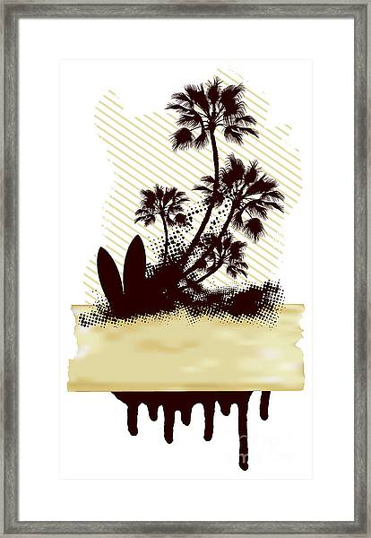 Surf Grunge Dirty Scene With Palms And Framed Print