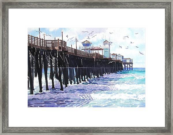 Surf View Oceanside Pier California Framed Print