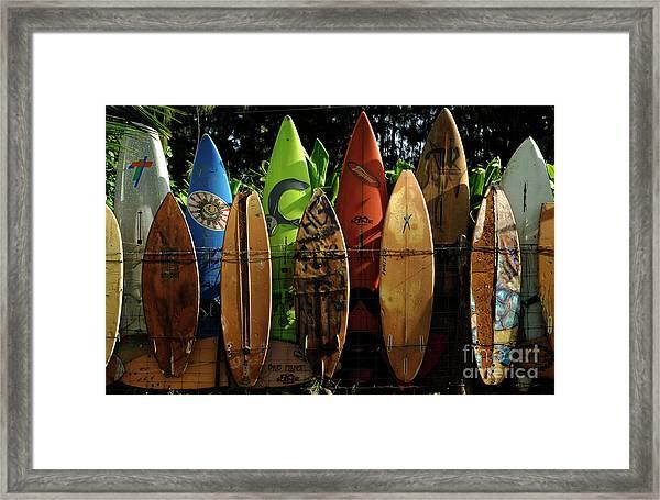 Surfboard Fence 4 Framed Print