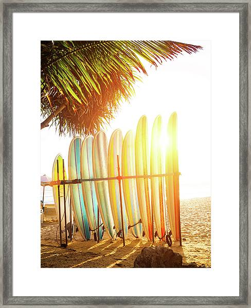 Surfboards At Ocean Beach Framed Print