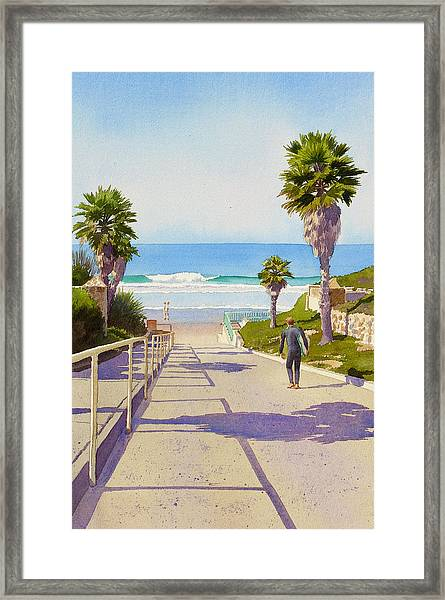 Surfer Dude At Fletcher Cove Framed Print by Mary Helmreich