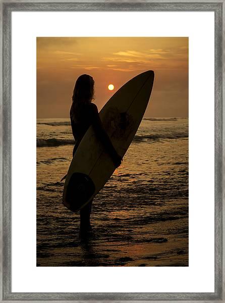 Surfer Girl Sunset Silhouette Framed Print