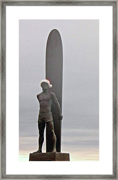 Surfer Santa  Framed Print