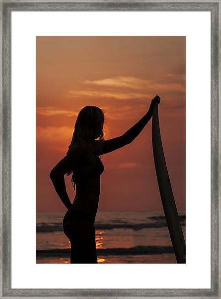 Surfer Sunset Silhouette Framed Print