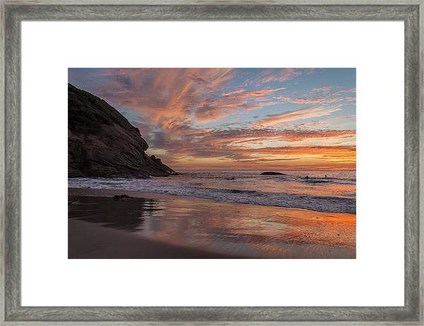Surfers And Sunset At Strands Beach Dana Point Framed Print