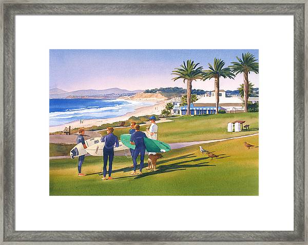 Surfers Gathering At Del Mar Beach Framed Print
