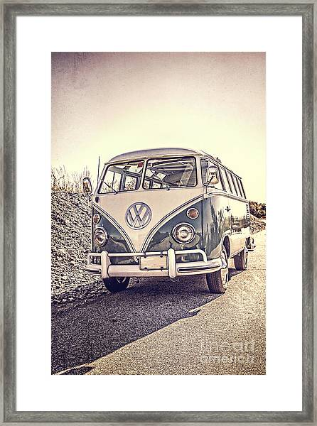 Framed Print featuring the photograph Surfer's Vintage Vw Samba Bus At The Beach by Edward Fielding