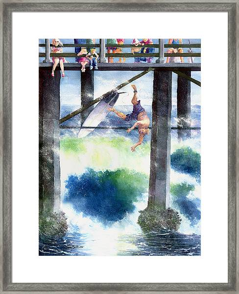 Surfing No.4 Framed Print by Jim Bates