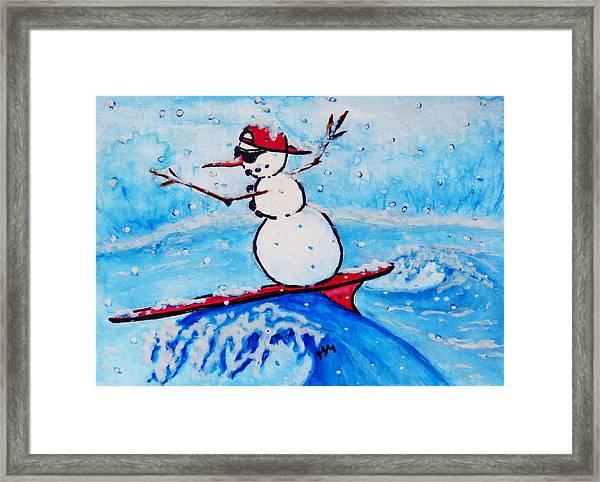 Surfing Snowman Framed Print
