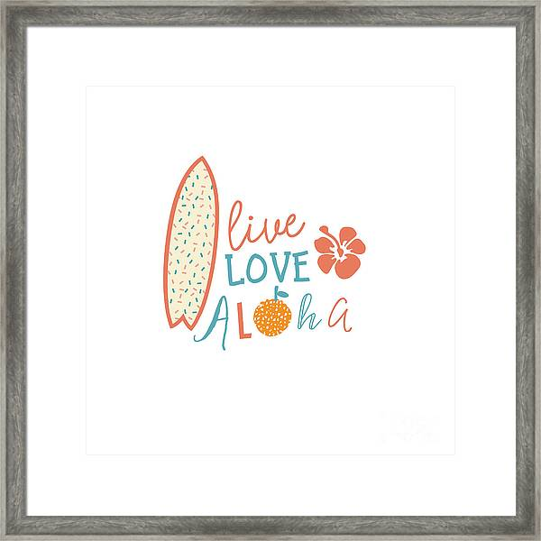 Surfing Summer Emblem With Text Quote Framed Print by Tasiania