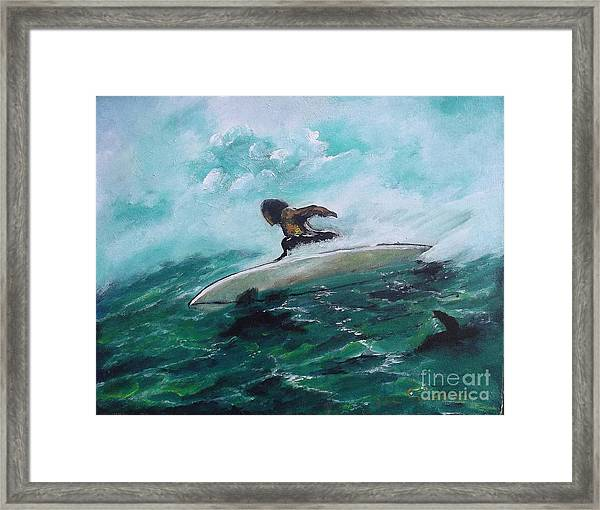 Surfs Up Framed Print by Donna Chaasadah
