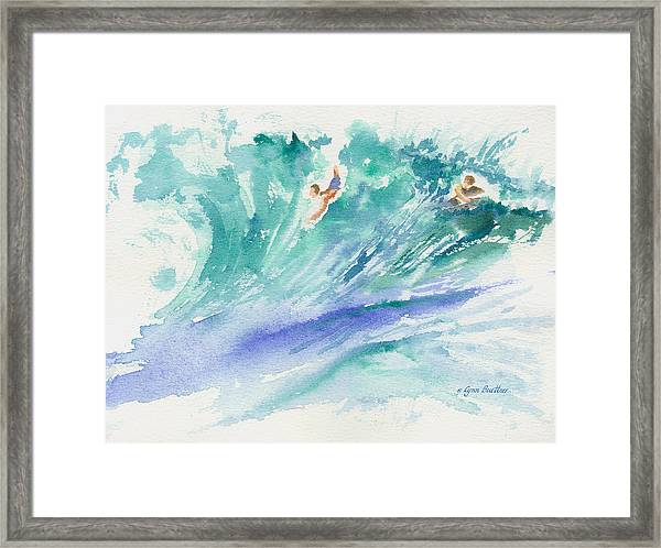 Framed Print featuring the painting Surf's Up by Lynn Buettner