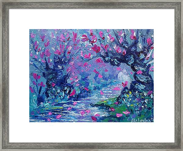 Surreal Landscape Art Pink Flower Tree Painting By Ekaterina Chernova Framed Print