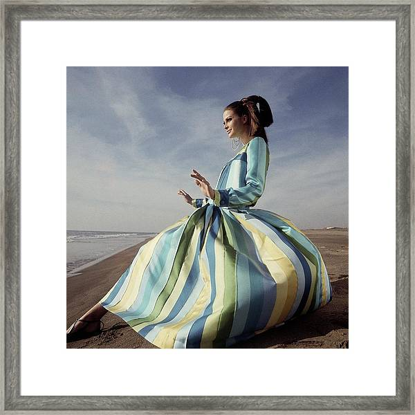 Editha Dussler Posing On A Beach Framed Print