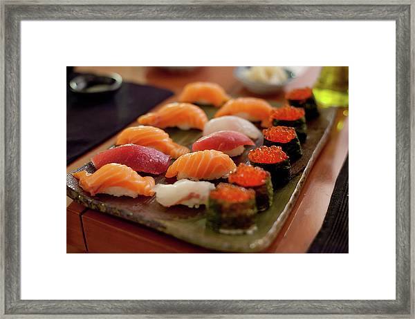 Sushi Plate With Salmon Framed Print