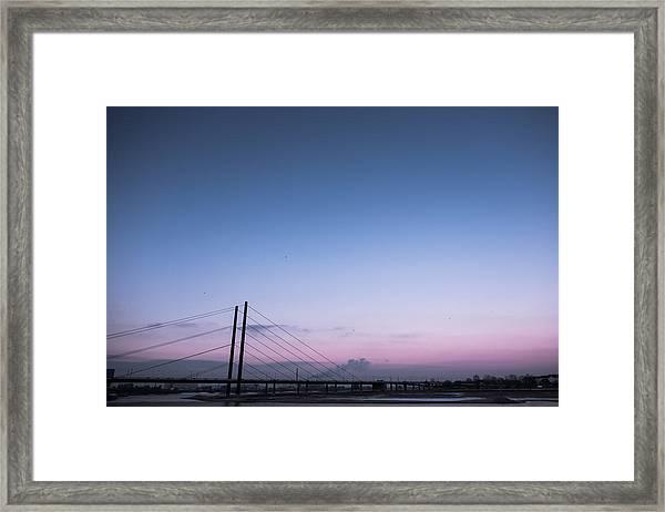 Suspension Bridge Over Sea Against Sky During Sunset Framed Print by Christian Soldatke / EyeEm
