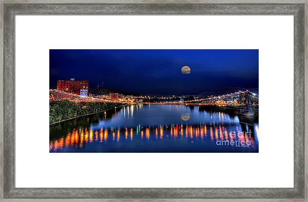 Suspension Bridge Wheeling Wv Panoramic Framed Print