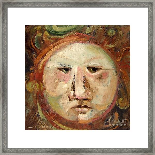 Suspicious Moonface Framed Print