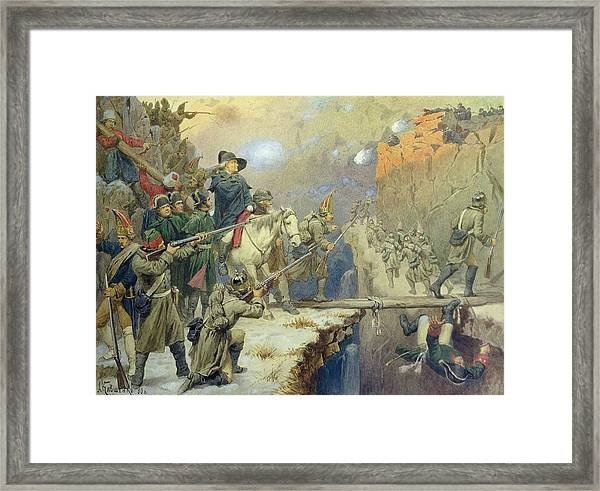Suvorov Crossing The Devils Bridge In 1799, 1880 Wc On Paper Framed Print