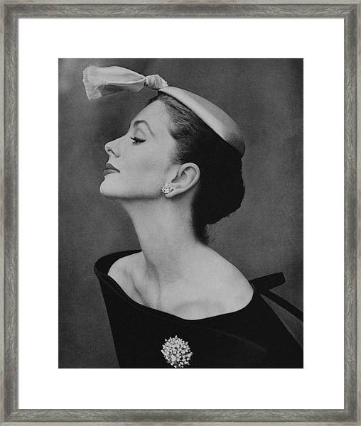 Suzy Parker In An Off-the-shoulder Dress Framed Print