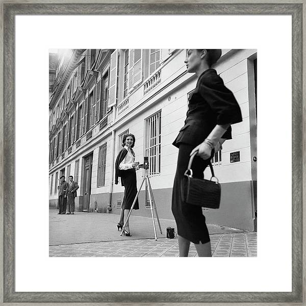 Suzy Parker Photographing A Model In Front Framed Print by Jacques Boucher