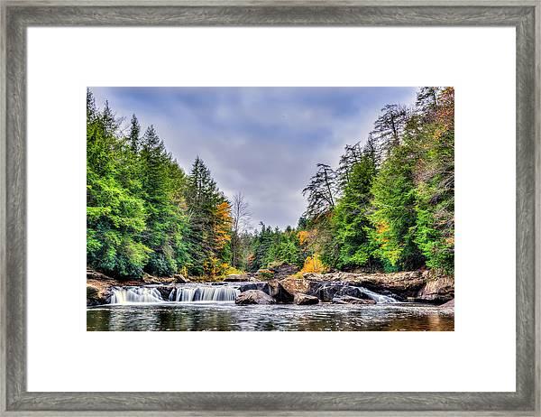 Swallow Falls Waterfall In Appalachian Mountains In Autumn Framed Print