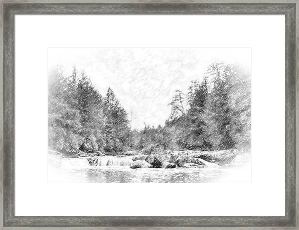Swallow Falls Waterfall Pencil Sketch Framed Print
