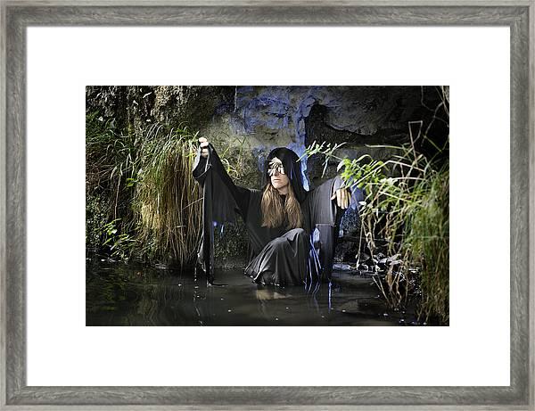Swamp Hag In Blue Framed Print