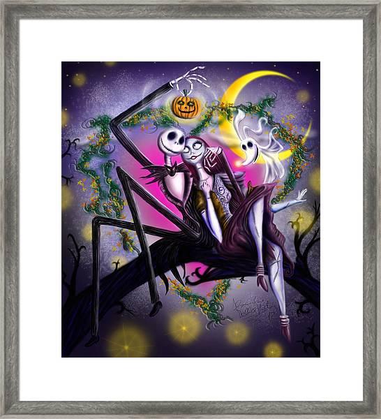 Sweet Loving Dreams In Halloween Night Framed Print