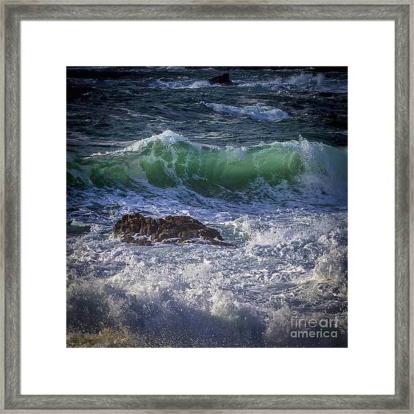 Swells In Doninos Beach Galicia Spain Framed Print