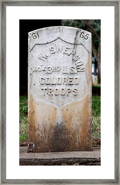 Swepson Tombstone 43rd U. S.  Colored Troops 2013 Framed Print