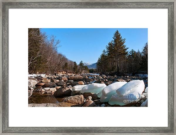 Swift River Ice Blocks Framed Print