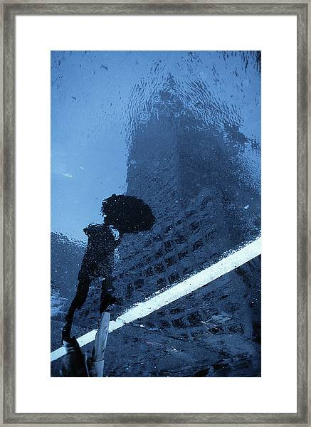 Swinging In The Rain (from The Series new York Blues) Framed Print