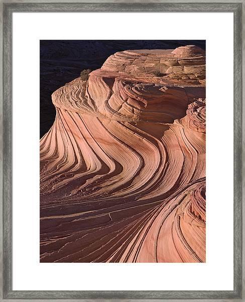Swirling Sandstone At Sunset Framed Print by Richard Berry