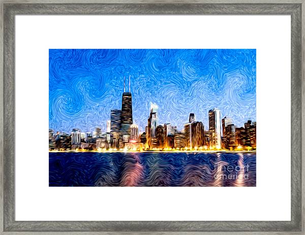 Swirly Chicago At Night Framed Print