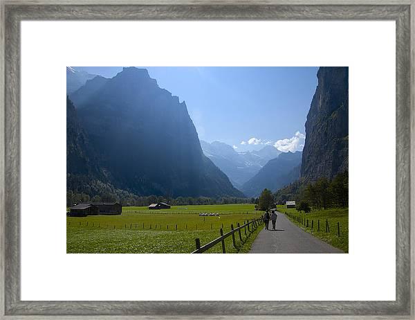 Swiss Hikers In Lauterbrunnen Switzerland Framed Print