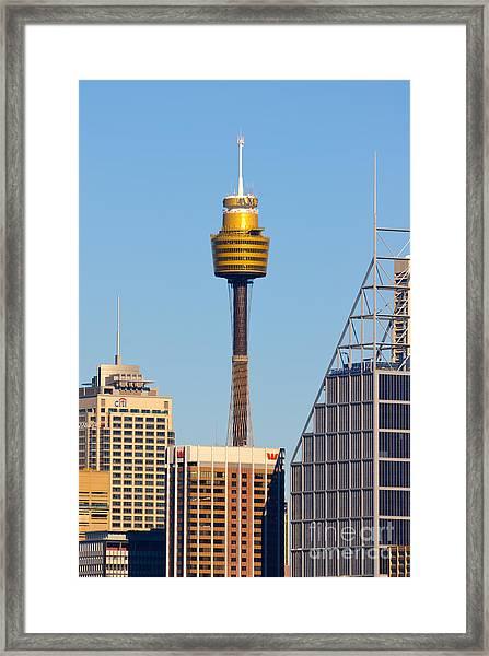 Sydney City Skyline With Sydney Tower Framed Print