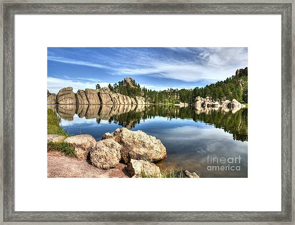 Framed Print featuring the photograph Sylvan Lake Reflections 2 by Mel Steinhauer