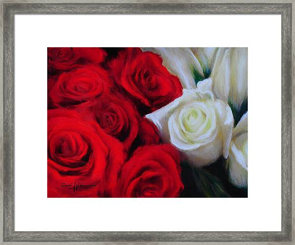 Da143 Symphony In Red And White By Daniel Adams Framed Print