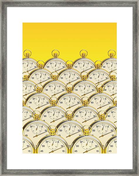 Synchronised Stopwatches Framed Print by David Parker