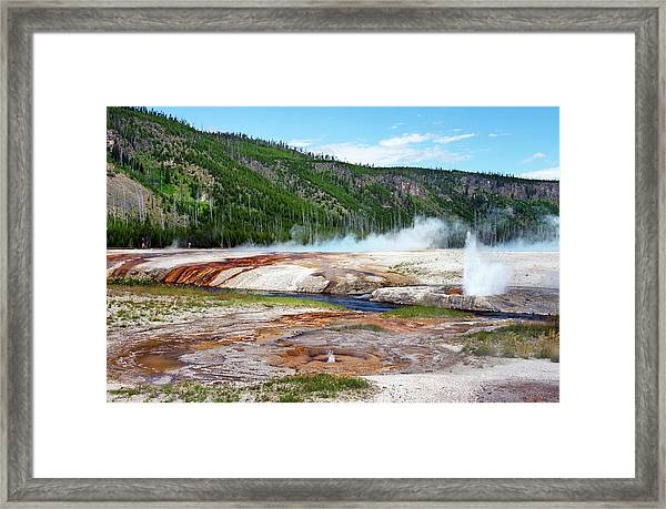 Synchronous Geyser Spray Framed Print