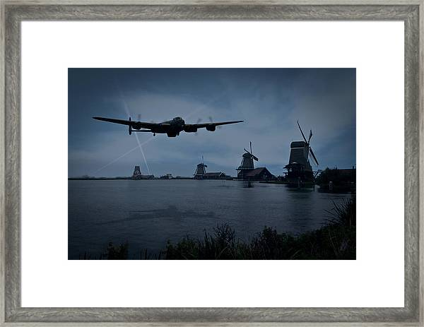 Dambusters Lancaster T For Tommy En Route To The Sorpe Framed Print