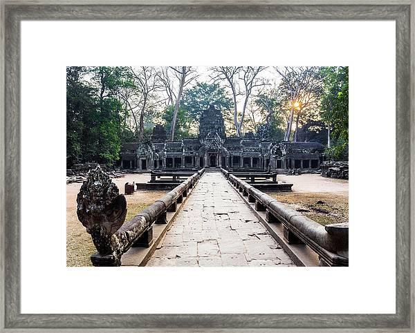 Ta Prohm Temple At Sunrise, Angkor Framed Print