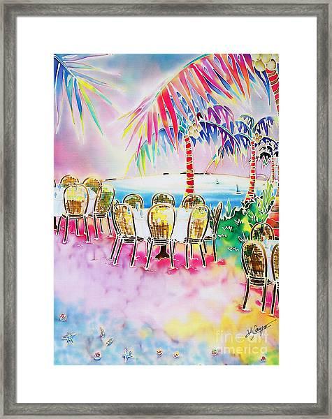 Tables On The Beach Framed Print