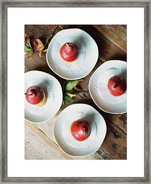 Tabletop Viewed From Above. Four Plates Framed Print