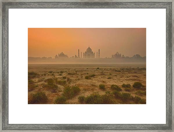 Taj Mahal At Dusk Framed Print