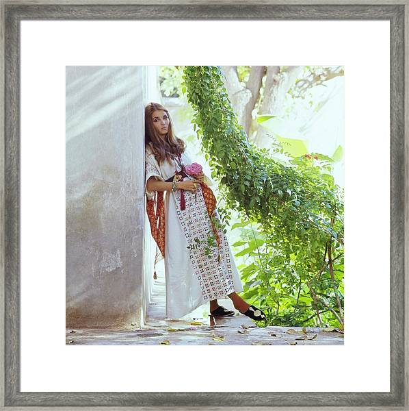 Talitha Getty By Her House In Morocco Framed Print
